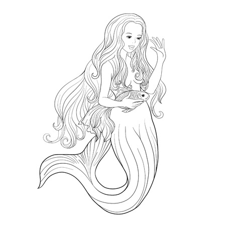 naiad: Hand drawn mermaid with gold fish in underwater world. Linen color illustration. Anti stress coloring book for adult and. Outline drawing coloring page.