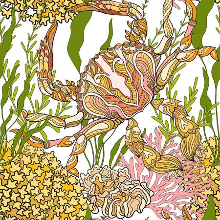 corals: Seamless pattern with decorative corals and sea or aquarium fish. Illustration