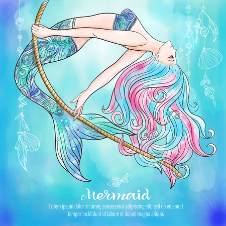 Hand drawn mermaid swinging on a rope, on watercolor background, linen color illustration.