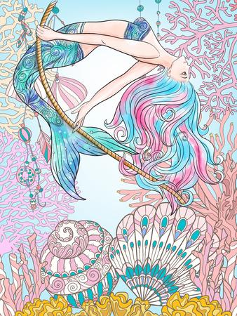 Dibujado a mano de la sirena balanceándose en la cuerda en el mundo submarino. ilustración en color lino.