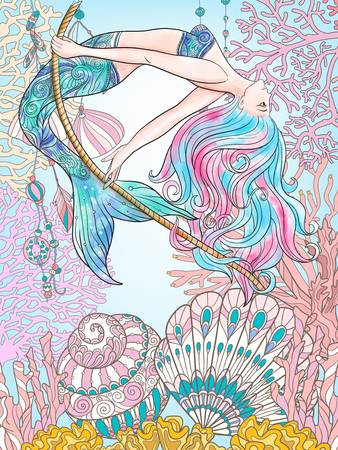 Hand drawn mermaid swinging on rope in underwater world. Linen color illustration. Vectores