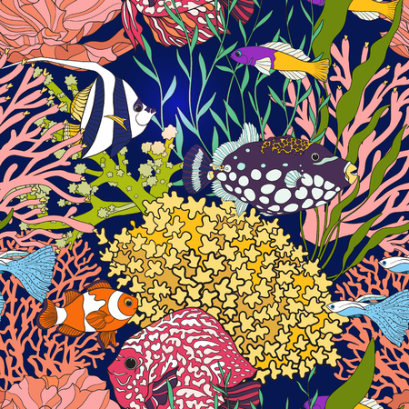 Seamless pattern with decorative corals and sea or aquarium fish.