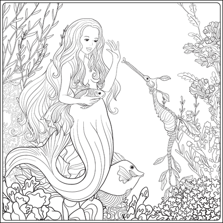 Hand drawn mermaid with gold fish in underwater world. Linen color illustration. Anti stress coloring book for adult and. Outline drawing coloring page.
