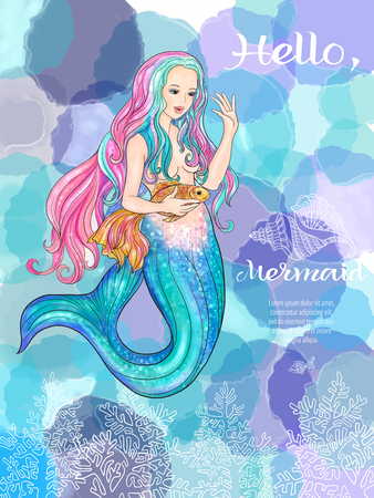 naiad: Hand drawn mermaid holding a gold fish, on watercolor background, linen color illustration.