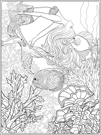 naiad: Hand drawn mermaid swinging on rope in underwater world. Linen color illustration. Anti stress coloring book for adult and. Outline drawing coloring page. Illustration
