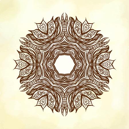 ritual: Henna Deco Colored Mandala, Patterned Design Element, Ethnic Amulet. Stock line illustration.