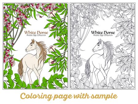 Caballo En El Jardín. Ilustración. Libro De Colorante Para Los ...