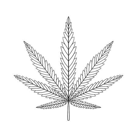 Decorative Cannabis leaf isolated on white background. Marijuana leaf silhouette. illustration. Ilustrace