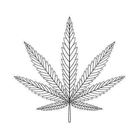 Decorative Cannabis leaf isolated on white background. Marijuana leaf silhouette. illustration. Illustration