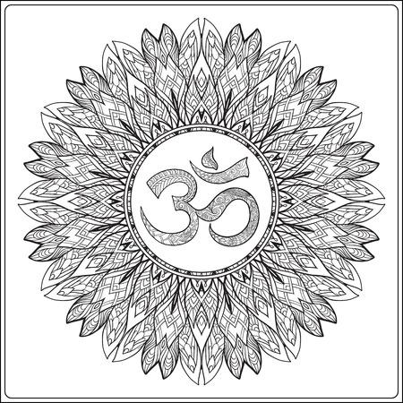 Deco Mandala con OM señal, Diseño modelado del elemento, Amuleto étnico. Lucha contra el estrés colorear libro para adultos. Esbozar dibujo para colorear. ilustración línea de valores.