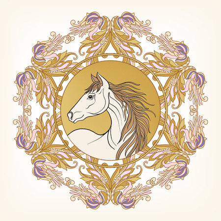 Horse in vintage decorative floral mandala frame. illustration. Good for greeting card for birthday, invitation