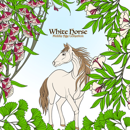 Horse in garden. Colored illustration. Good for greeting card for birthday, invitation or banner Illustration
