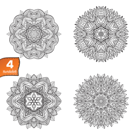 Deco Mandala set, Patterned Design Element, Ethnic Amulet. Anti stress coloring book for adult. Outline drawing coloring page. Stock line illustration.