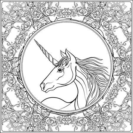 Unicorn in vintage decorative floral mandala frame. illustration. Coloring book for adult and older children. Outline drawing coloring page. Ilustração