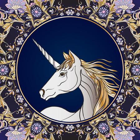Unicorn in vintage decorative floral mandala frame. illustration. Good for greeting card for birthday, invitation
