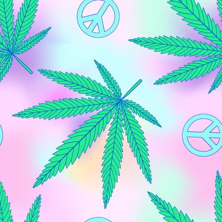 Cannabis leafs and peace symbol seamless pattern in vaporwave pastel neon, psychedelic style Illustration