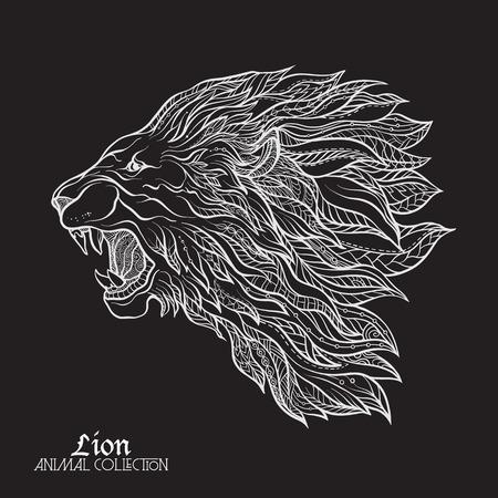Ethnic patterned ornate  head of Lion. Black, and, white, doodle,  illustration. Sketch for poster, print or t-shirt. Stock line illustration. White on black background