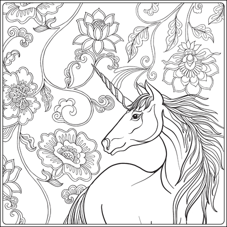 Unicorn In Magical Garden Vintage Decorative Floral Pattern Background Colored Illustration Coloring Book