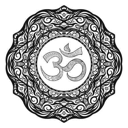 om: Deco Mandalawith OM sign, Patterned Design Element, Ethnic Amulet. Anti stress coloring book for adult. Outline drawing coloring page. Stock line illustration.