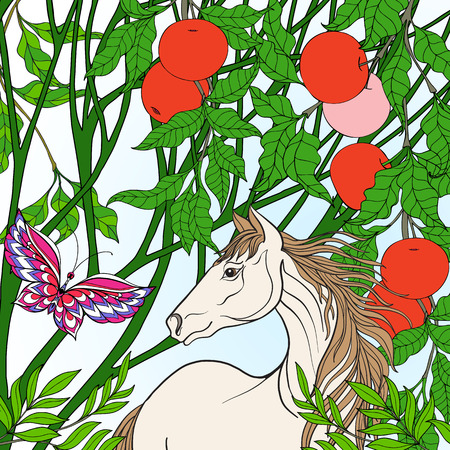 Horse in garden. Colored  illustration. Good for greeting card for birthday, invitation or banner