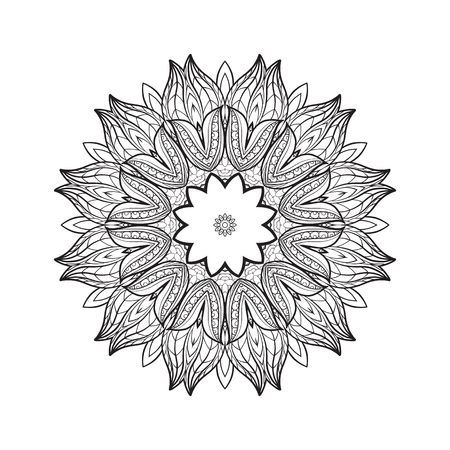 serviette: Deco Mandala, Patterned Design Element, Ethnic Amulet. Anti stress coloring book for adult. Outline drawing coloring page. Stock line illustration. Illustration