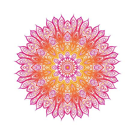 Deco Mandala color, Diseño modelado del elemento, Amuleto étnico. ilustración línea de valores.
