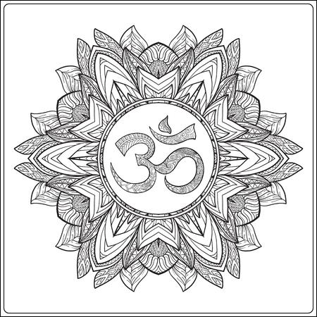 om: Deco Mandala with OM sign, Patterned Design Element, Ethnic Amulet. Anti stress coloring book for adult. Outline drawing coloring page. Stock line illustration. Illustration