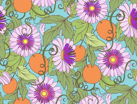 Passiflore seamless floral. Pasiiflora Flower background. seamless texture floral avec des fleurs. Motif floral avec des fleurs. Vecteurs