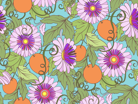 Passionflower floral seamless pattern. Pasiiflora Flower background. Floral seamless texture with flowers. Floral Pattern with  flowers. Illustration