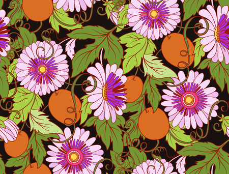 Passiflore seamless floral. Pasiiflora Flower background. seamless texture floral avec des fleurs. Motif floral avec des fleurs.