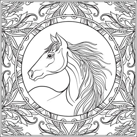 steed: Horse in vintage decorative floral mandala frame. illustration. Coloring book for adult and older children. Outline drawing coloring page.