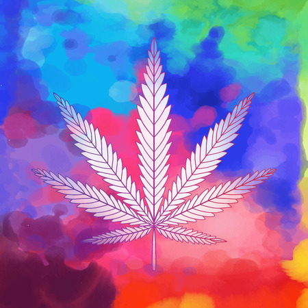Decorative Cannabis leaf isolated. Marijuana leaf silhouette. illustration. On watercolor background
