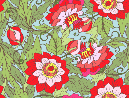 Floral seamless pattern. Flower background. Floral seamless texture with flowers. Floral Pattern with flowers. Brightly-colored seamless wallpaper. Stock line illustration.