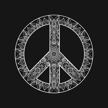 Decorative Peace symbol, hipster round pacifism sign, Black and white hipster Floral-grunge art design, Peace Hippie ornamental style. Peace image, Peace hipster icon. White on black background