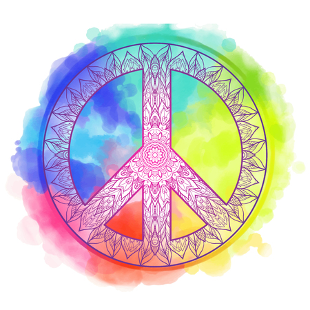Decorative Peace symbol, hipster round pacifism sign, hipster Floral-grunge art design, Peace Hippie ornamental style. Peace image, Peace hipster icon. On watercolor background