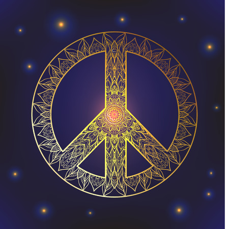 Decorative Peace symbol, hipster round pacifism sign, hipster Floral-grunge art design, Peace Hippie ornamental style. Peace image, Peace hipster icon. Gold on black background Illustration