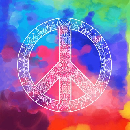 Decorative Peace Symbol Hipster Round Pacifism Sign Hipster