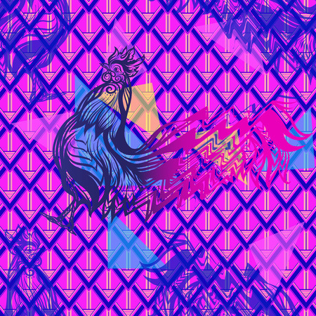 Seamless pattern with glitch Rooster in vaporwave colors. Chinese New Year Symbol of 2017 New Year.  illustration.