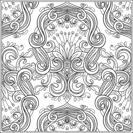 Uitstekende achtergrond bruin barok patroon. damast patroon element. Klassieke luxe ornament oud, Royal Victorian textuur. Anti-stress kleurboek voor volwassen. Overzichtstekening kleurplaat.