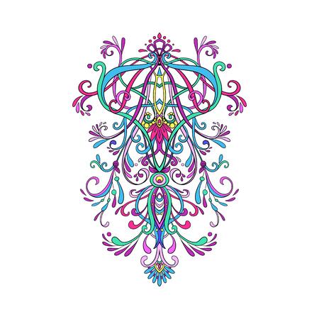 Sier bloemenelement voor ontwerp in vintage stijl. vintage patroon in Victoriaanse stijl. Overladen element voor ontwerp. Ornament voor huwelijksuitnodigingen, wenskaarten.