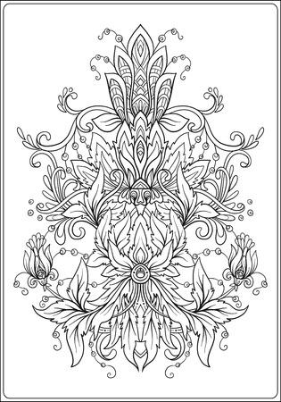 Sier bloemenelement voor ontwerp in vintage stijl. vintage patroon in Victoriaanse stijl. Ornament voor anti-stress kleurboek voor volwassenen. Overzichtstekening kleurplaat.
