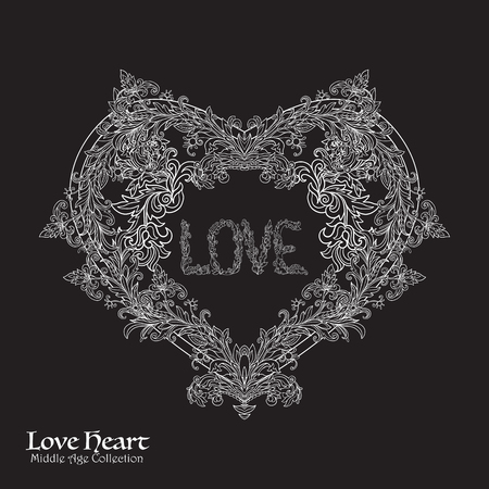 Decorative Love Heart in rococo, victorian, renaissance, baroque, royal style. Good for greeting card for birthday, invitation. illustration. White on black background. Illustration