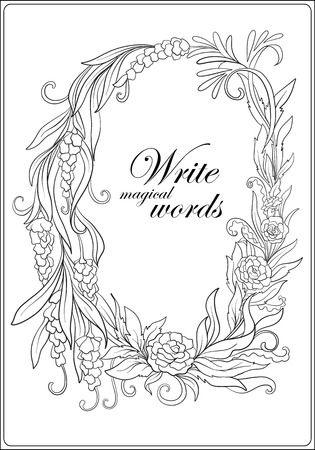 Anti stress coloring book for adult. Outline drawing floral frame with space for text. Stock line illustration.