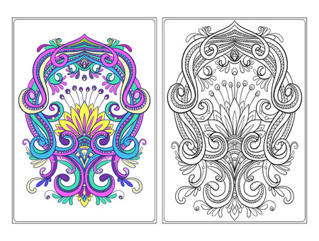 for example: Ornamental floral element for design in vintage style. vintage pattern in Victorian style. Anti stress coloring book for adult. Outline drawing coloring page with example. Illustration