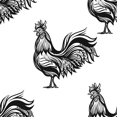 Seamless pattern with decorative Rooster. Chinese New Year Symbol of 2017 New Year.  illustration. Иллюстрация