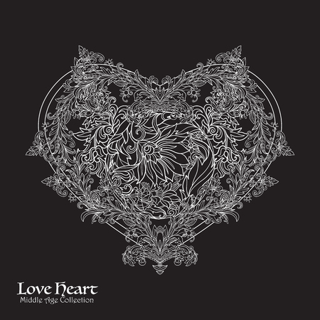 Decorative Love Heart in rococo, victorian, renaissance, baroque, royal style. Good for greeting card for birthday, invitation . illustration. White on black background.