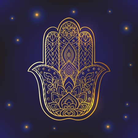 Indian drawn hamsa symbol with ethnic ornaments. Gold on black background Ilustração