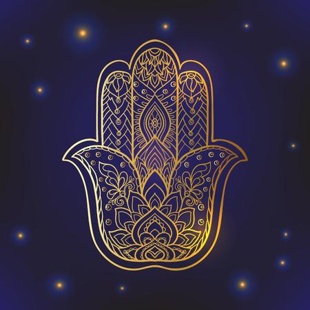 Indian símbolo de Hamsa dibujado con adornos étnicos. El oro sobre fondo negro