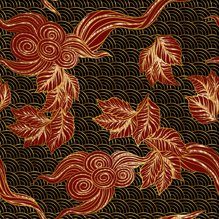 drapes: Asian Japanese tradition seamless pattern in gold and black colors. Stock illustration.