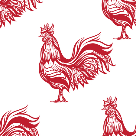 Seamless Pattern With Decorative Rooster Chinese New Year Symbol